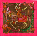 "Luxury Accessories:Accessories, Hermes 90cm Pink & Green ""Le Timbalier,"" by Francoise HeronSilk Scarf. Excellent Condition. 36"" Width x 36""Length..."