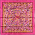 "Luxury Accessories:Accessories, Hermes 90cm Pink & Violet "" Les Jardins d'Armenie,"" by KarenPetrossian Silk Scarf. Excellent Condition. 36"" Width x3..."