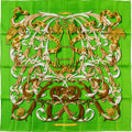"""Luxury Accessories:Accessories, Hermes 90cm Green """"Le Mors a la Conetable,"""" by Henri d'Origny SilkScarf. Excellent Condition. 36"""" Width x 36"""" Length..."""