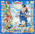 "Luxury Accessories:Accessories, Hermes 90cm Blue ""Les Ameriques,"" by Kermit Oliver Silk Scarf. Pristine Condition. 36"" Width x 36"" Length. ..."