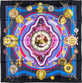 "Luxury Accessories:Accessories, Hermes 90cm Black & Blue ""La Ronde des Heures,"" by LoïcDubigeon Silk Scarf. Pristine Condition. 36"" Width x 36""Lengt..."