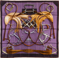 "Luxury Accessories:Accessories, Hermes 90cm Violet ""Projets Carres,"" by Henri D'Origny Silk Scarf.Pristine Condition. 36"" Width x 36"" Length. ..."