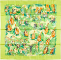 "Luxury Accessories:Accessories, Hermes 90cm Green ""Concerto,"" by Jean-Louis Clerc Silk Scarf.Pristine Condition. 36"" Width x 36"" Length. ..."