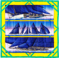 "Luxury Accessories:Accessories, Hermes 90cm Blue & Yellow ""Rafales,"" by Yannick Manier SilkScarf. Excellent Condition. 36"" Width x 36"" Length...."