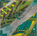 """Luxury Accessories:Accessories, Hermes 40cm Green """"Coupons Indiens,"""" Aline Honoré Silk PochetteScarf . Pristine Condition. 16"""" Width x 16"""" Length..."""