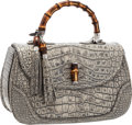 "Luxury Accessories:Bags, Gucci Antiqued Lichen Crocodile New Bamboo Top Handle Bag. Pristine Condition. 14.5"" Width x 9"" Height x 6.5"" Depth..."