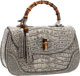 "Gucci Antiqued Lichen Crocodile New Bamboo Top Handle Bag Pristine Condition 14.5"" Width x 9"" Height x 6.5&quo..."