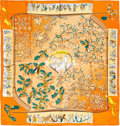 "Luxury Accessories:Accessories, Hermes 90cm Peach & Orange ""Neige d'Antan,"" by Caty Latham SilkScarf. Pristine Condition. 36"" Width x 36"" Length...."