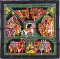 "Luxury Accessories:Accessories, Hermes 90cm Black ""La Danse du Cheval Marwari"", by Annie FaivreSilk Scarf. Pristine Condition. 36"" Width x 36""Length..."