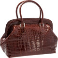 "Luxury Accessories:Bags, Fendi Brown Crocodile Selleria Shoulder Bag. Excellent Condition. 13"" Width x 10"" Height x 8"" Depth. CITES compl..."
