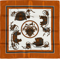 "Hermes 40cm Brown & White ""Les Parfums Hermes,"" Pochette Silk Scarf Excellent Condition 16"" Width"