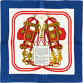 "Luxury Accessories:Accessories, Hermes 40cm Red & Blue ""Brides de Gala,"" by Hugo Grygkar SilkPochette Scarf . Pristine Condition . 16"" Width x 16""Le..."