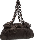 "Luxury Accessories:Bags, Salvatore Ferragamo Black Ostrich Marisa Shoulder Bag . VeryGood to Excellent Condition . 18"" Width x 9"" Height x 2""..."