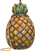 """Luxury Accessories:Bags, Judith Leiber Full Bead Gold & Green Crystal Pineapple Minaudiere Evening Bag. Excellent Condition. 4"""" Width x 6"""" Heig..."""