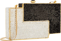 """Judith Leiber Full Bead Black & Silver Crystal Minaudiere Evening Bag Excellent Condition 5.5"""""""