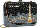 """Luxury Accessories:Bags, Judith Leiber Full Bead Black & Blue Crystal Chicago SkylineMinaudiere Evening Bag. Excellent Condition . 6.5"""" Width..."""