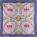 "Luxury Accessories:Accessories, Hermes 90cm Slate Blue, Pink & Gold ""Carrosses d'Or,"" byVladimir Rybaltchenko Silk Scarf. Very Good Condition.36"" Wi..."