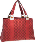 "Luxury Accessories:Bags, Gucci Red Monogram Leather Tote Bag with Silver Hardware . VeryGood Condition . 15"" Width x 9"" Height x 5"" Depth . ..."