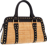 """Fendi Black Leather & Straw Studded Satchel Bag with Gold Hardware Very Good Condition 15"""" Widt"""