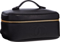 """Chanel Black Caviar Leather Cosmetic Case Bag Very Good to Excellent Condition 7.5"""" Width x 4"""""""