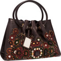 "Luxury Accessories:Bags, Oscar de la Renta Brown Leather Beaded Tote Bag. GoodCondition . 13"" Width x 9"" Height x 6"" Depth . ..."