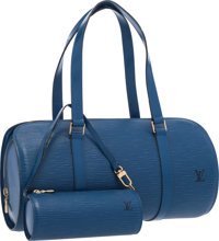 "Louis Vuitton Blue Epi Leather Soufflot Shoulder Bag Very Good Condition 12"" Width x 6"" Height"