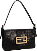 "Luxury Accessories:Bags, Fendi Black Crocodile Leather Mini Baguette Bag . Good to VeryGood Condition . 7"" Width x 4.5"" Height x 1"" Depth . ..."