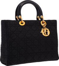 """Christian Dior Black Microfiber Cannage Lady Dior Tote Bag Very Good Condition 12"""" Width x 9"""" He"""