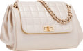 "Luxury Accessories:Bags, Chanel Beige Metallic Lambskin Leather Shoulder Bag with BrushedGold Hardware. Good to Very Good Condition . 9""Width..."