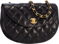 "Luxury Accessories:Bags, Chanel Black Quilted Lambskin Leather Half Moon Shoulder Bag withGold Hardware. Good to Very Good Condition . 8""Widt..."