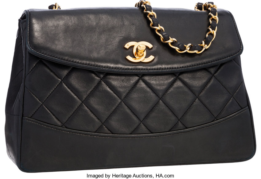 a16ea84586db Chanel Black Lambskin Leather Flap Bag with Gold Hardware .