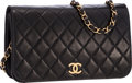 "Luxury Accessories:Bags, Chanel Black Quilted Lambskin Leather Shoulder Bag with GoldHardware . Very Good Condition . 9"" Width x 6"" Height x2..."