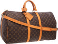 """Luxury Accessories:Travel/Trunks, Louis Vuitton Classic Monogram Canvas Keepall 55 BandouliereWeekend Bag. Very Good Condition . 22"""" Width x 12""""Height..."""