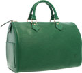 "Luxury Accessories:Bags, Louis Vuitton Green Epi Leather Speedy 30 Bag . Very Good toExcellent Condition . 12"" Width x 9"" Height x 7"" Depth..."