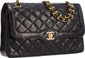 """Luxury Accessories:Bags, Chanel Black Lambskin Leather Double Flap Bag with Gold and SilverHardware. Good to Very Good Condition . 11"""" Widthx..."""