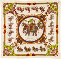 "Luxury Accessories:Accessories, Hermes 90cm White & Gold Multicolor ""Caparaçons de la France etde l'Inde,"" by Philippe Ledoux Silk Scarf. ExcellentCondi..."