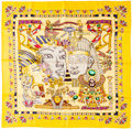 "Luxury Accessories:Accessories, Hermes 90cm Yellow & Purple ""Tresors du Nil,"" by Joachim MetzSilk Scarf . Excellent Condition . 36"" Width x 36""Lengt..."