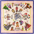 "Luxury Accessories:Accessories, Hermes 90cm Pink & Purple ""Hello Dolly,"" by Loic Dubigeon SilkScarf . Very Good Condition . 36"" Width x 36"" Length..."