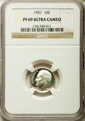 Proof Roosevelt Dimes: , 1957 10C PR69 Ultra Cameo NGC. NGC Census: (20/0). PCGS Population(4/0). Numismedia Wsl. Price for problem free NGC/PCGS ...