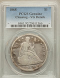 Seated Dollars: , 1868 $1 -- Cleaning -- PCGS Genuine. VG Details. NGC Census:(1/98). PCGS Population (0/169). Mintage: 162,100. Numismedia ...