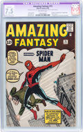 Silver Age (1956-1969):Superhero, Amazing Fantasy #15 (Marvel, 1962) CGC Apparent VF- 7.5 Slight-Moderate (A-2) Off-white pages....