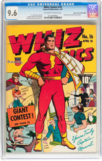 Whiz Comics #16 Mile High pedigree (Fawcett Publications, 1941) CGC NM+ 9.6 Off-white to white pages