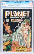 Golden Age (1938-1955):Science Fiction, Planet Comics #56 (Fiction House, 1948) CGC VF+ 8.5 Cream to off-white pages....