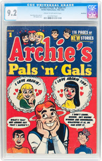 Archie's Pals 'n' Gals #1 Northford pedigree (Archie, 1953) CGC NM- 9.2 Cream to off-white pages