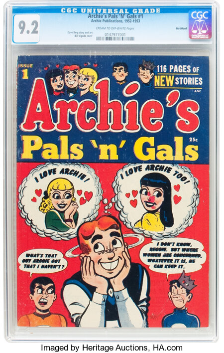 Archie's Pals 'n' Gals #1 Northford pedigree (Archie, 1953) CGC NM- 9.2 Cream to off-white pages....