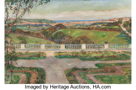 LOUIS FLOUTIER (French, 1882-1936) View from the Gardens Oil on canvas 21 x 32 inches (53.3 x 81.3 cm) Signed lower ...