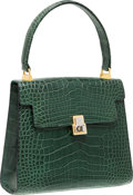 "Luxury Accessories:Bags, Fendi Green Crocodile Top Handle Bag. Very Good Condition.7.5"" Width x 6"" Height x 3"" Depth. CITES compliancea..."