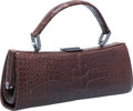 "Luxury Accessories:Bags, Giorgio Armani Brown Crocodile Top Handle Bag. ExcellentCondition. 8"" Width x 3"" Height x 2"" Depth. CITEScompl..."
