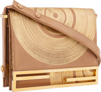 "Fendi Gold & Beige Metallic Leather Shoulder Bag Good to Very Good Condition 8"" Width x 6.5"" Heig"