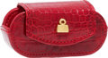 """Luxury Accessories:Accessories, Judith Leiber Red Crocodile Contact Lens Case. Pristine Condition. 2.75"""" Width x 1.5"""" Height x 1"""" Depth. CITES c..."""